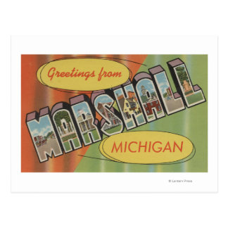 Marshall, Michigan - Large Letter Scenes Postcard