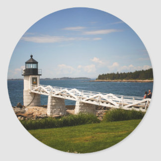 Marshall Point Light Classic Round Sticker