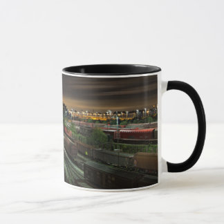 Marshalling Yard, Railroad Station at Night Mug