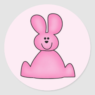 Marshmallow Bunny (pink) Tshirts and Gifts Round Sticker