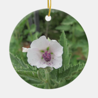 Marshmallow Flower Round Ceramic Ornament