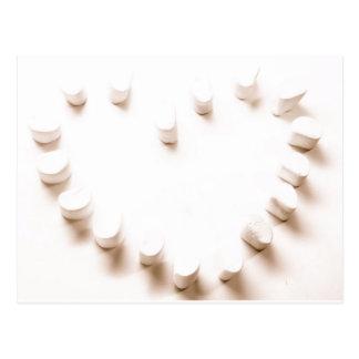 Marshmallow heart postcard
