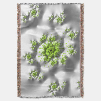 Marshmallow Lime Trippy Psychedelic Fine Fractal Throw Blanket