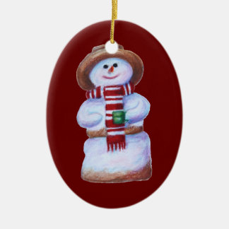 Marshmallow Snowman Merry Christmas Ceramic Oval Ornament