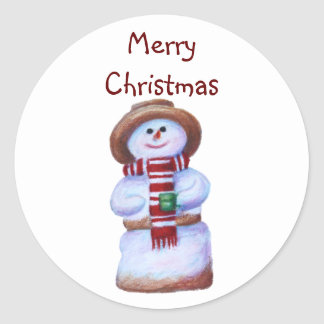 Marshmallow Snowman Merry Christmas Sticker