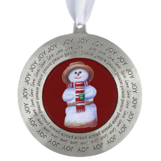 Marshmallow Snowman Round Pewter Ornament