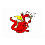 Marshmallow Toasting Dragon Postcard