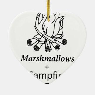 Marshmallows + Campfire = Yay! Ceramic Heart Ornament