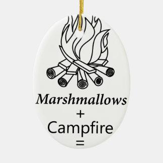 Marshmallows + Campfire = Yay! Ceramic Oval Ornament