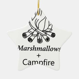 Marshmallows + Campfire = Yay! Ceramic Star Ornament