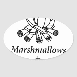 Marshmallows + Campfire = Yay! Oval Sticker