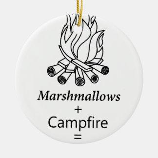 Marshmallows + Campfire = Yay! Round Ceramic Ornament
