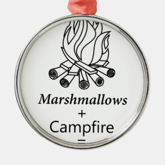 Marshmallows + Campfire = Yay! Silver-Colored Round Ornament