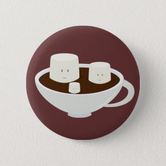 Marshmallows in hot chocolate 2 inch round button