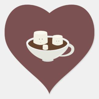 Marshmallows in hot chocolate heart sticker
