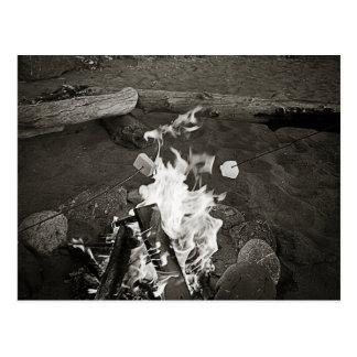 Marshmallows over an open fire postcard