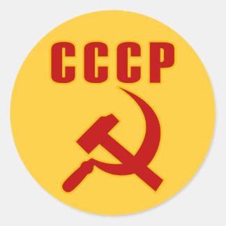 marteau et faucille de l'URSS de cccp Adhésifs Ronds