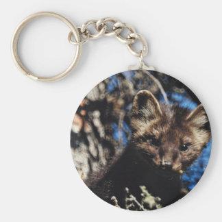 Marten in Spruce Tree Basic Round Button Keychain