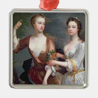 Martha and Teresa Blount, 1716 Silver-Colored Square Ornament