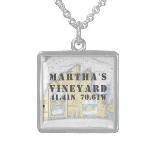 Martha's Vineyard Latitude Longitude Nautical Sterling Silver Necklace