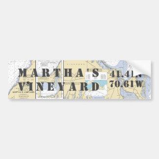 Martha's Vineyard Latitude Longitude Navigation Bumper Sticker