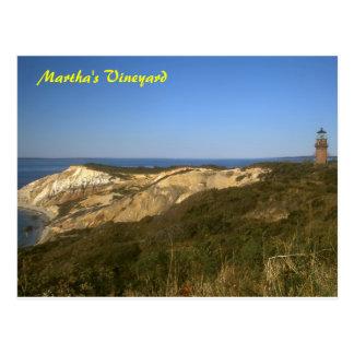 Martha's Vineyard Lighthouse and Clay Cliffs Postcard