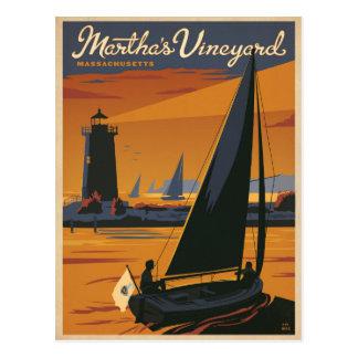 Martha's Vineyard, MA - Sailboat Postcard