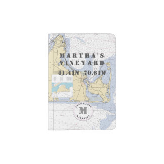 Martha's Vineyard Monogram Nautical Chart Passport Holder