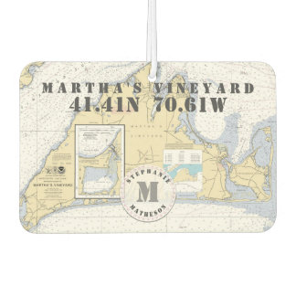 Martha's Vineyard Nautical Chart Monogram Car Air Freshener