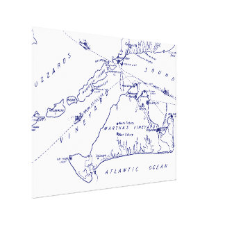 Martha's Vineyard Vintage Map #1 Navy Blue Canvas Print
