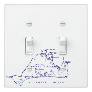 Martha's Vineyard Vintage Map #1 Navy Blue Light Switch Cover