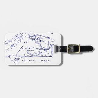 Martha's Vineyard Vintage Map #1 Navy Blue Luggage Tag