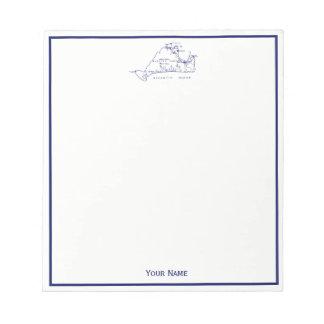 Martha's Vineyard Vintage Map #1 Navy Blue Notepad