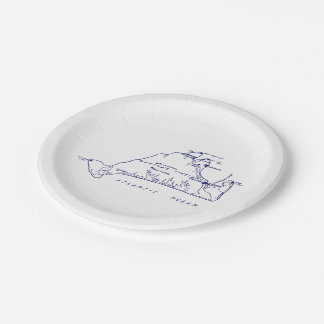 Martha's Vineyard Vintage Map #1 Navy Blue Paper Plate
