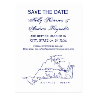 Martha's Vineyard Vintage Map #1 Navy Blue Postcard