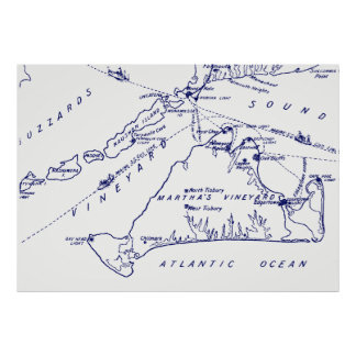 Martha's Vineyard Vintage Map #1 Navy Blue Poster