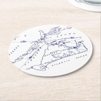 Martha's Vineyard Vintage Map #1 Navy Blue Round Paper Coaster
