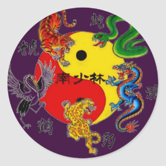 MARTIAL ARTS 5 ANIMALS CLASSIC ROUND STICKER