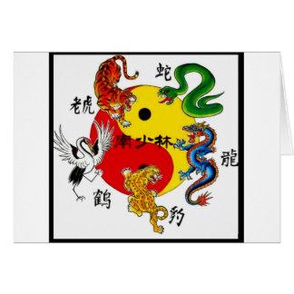 MARTIAL ARTS 5 ANIMALS GREETING CARD