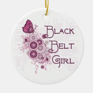 Martial Arts Black Belt Girl Pink Butterflies Ceramic Ornament