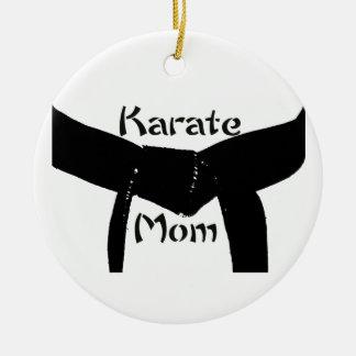 Martial Arts Black Belt Karate Mom Ceramic Ornament