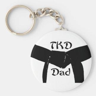 Martial Arts Black Belt TKD Dad Keychain