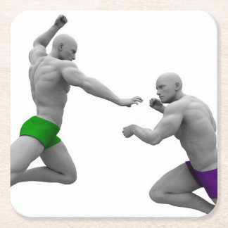 Martial Arts Concept for Fighting and Protection Square Paper Coaster