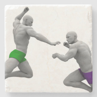 Martial Arts Concept for Fighting and Protection Stone Coaster