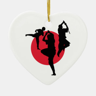 Martial Arts figures on a red circle Ceramic Heart Ornament