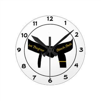 Martial Arts First Degree Black Belt Round Clock