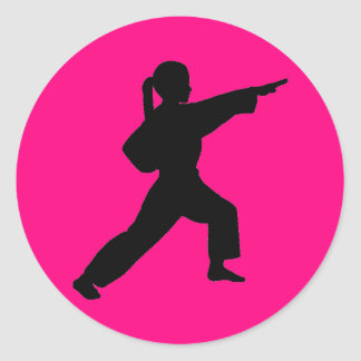 Martial Arts Front Strike Girl hot pink stickers