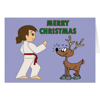 Martial Arts Girl and her Reindeer Christmas Cards