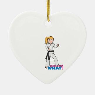 Martial Arts Girl Ceramic Heart Ornament