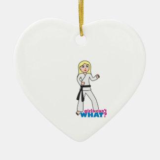 Martial Arts Girl Light Blonde Ceramic Heart Ornament
